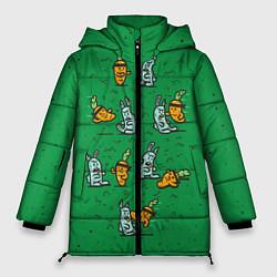 Женская зимняя 3D-куртка с капюшоном с принтом Боевая морковь, цвет: 3D-черный, артикул: 10117527206071 — фото 1