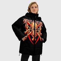Женская зимняя 3D-куртка с капюшоном с принтом Megadeth: Gold Skull, цвет: 3D-черный, артикул: 10118375606071 — фото 2