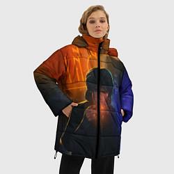 Куртка зимняя женская Виктор Цой в ночи цвета 3D-черный — фото 2