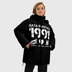 Женская зимняя 3D-куртка с капюшоном с принтом Дата выпуска 1991, цвет: 3D-черный, артикул: 10122751406071 — фото 2