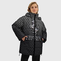 Женская зимняя 3D-куртка с капюшоном с принтом Ferrari: Metalic Style, цвет: 3D-черный, артикул: 10127269106071 — фото 2