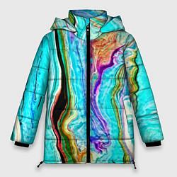 Женская зимняя 3D-куртка с капюшоном с принтом Цветные разводы, цвет: 3D-черный, артикул: 10134102306071 — фото 1