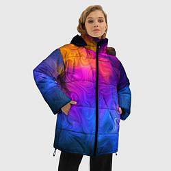 Женская зимняя 3D-куртка с капюшоном с принтом Узор цвета, цвет: 3D-черный, артикул: 10135228306071 — фото 2
