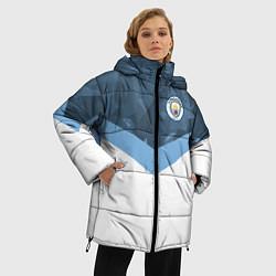 Женская зимняя 3D-куртка с капюшоном с принтом Manchester City FC: Sport, цвет: 3D-черный, артикул: 10137034906071 — фото 2