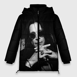 Женская зимняя 3D-куртка с капюшоном с принтом Оззи Осборн, цвет: 3D-черный, артикул: 10138077306071 — фото 1