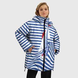 Женская зимняя 3D-куртка с капюшоном с принтом Полосатый рейс, цвет: 3D-черный, артикул: 10138860506071 — фото 2