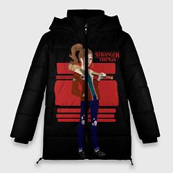 Женская зимняя 3D-куртка с капюшоном с принтом Очень странные дела, цвет: 3D-черный, артикул: 10141030506071 — фото 1