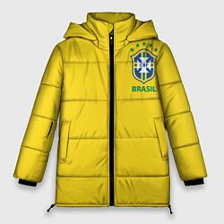 Женская зимняя 3D-куртка с капюшоном с принтом Сборная Бразилии, цвет: 3D-черный, артикул: 10143141106071 — фото 1