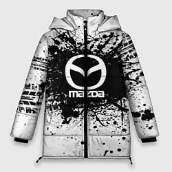 Женская зимняя 3D-куртка с капюшоном с принтом Mazda: Black Spray, цвет: 3D-черный, артикул: 10147676306071 — фото 1