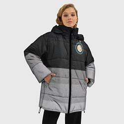 Женская зимняя 3D-куртка с капюшоном с принтом ФК Интер: Серый стиль, цвет: 3D-черный, артикул: 10148313906071 — фото 2