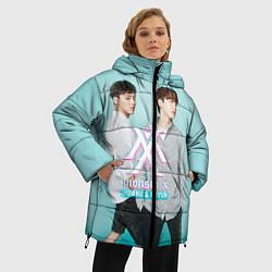 Женская зимняя 3D-куртка с капюшоном с принтом Shownu & Kihyun, цвет: 3D-черный, артикул: 10150036506071 — фото 2