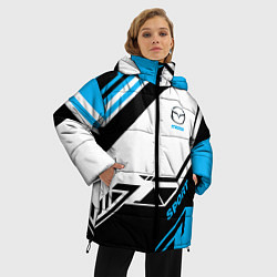 Женская зимняя 3D-куртка с капюшоном с принтом Mazda: Techno Sport, цвет: 3D-черный, артикул: 10152657106071 — фото 2