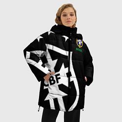 Женская зимняя 3D-куртка с капюшоном с принтом Brazil Team: Exclusive, цвет: 3D-черный, артикул: 10153704706071 — фото 2