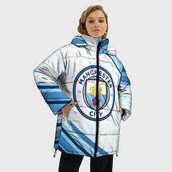 Женская зимняя 3D-куртка с капюшоном с принтом Manchester city, цвет: 3D-черный, артикул: 10154362106071 — фото 2