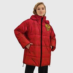 Женская зимняя 3D-куртка с капюшоном с принтом Форма сборной России, цвет: 3D-черный, артикул: 10155350706071 — фото 2
