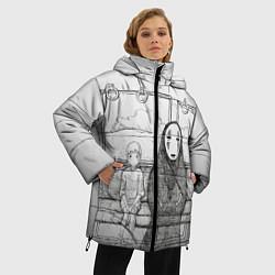 Женская зимняя 3D-куртка с капюшоном с принтом Унесенные призраками, цвет: 3D-черный, артикул: 10155884106071 — фото 2