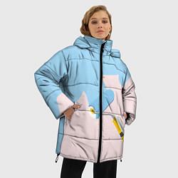 Женская зимняя 3D-куртка с капюшоном с принтом Голубая заливка, цвет: 3D-черный, артикул: 10157480706071 — фото 2