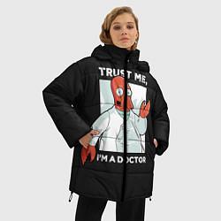 Женская зимняя 3D-куртка с капюшоном с принтом Zoidberg: Trust Me, цвет: 3D-черный, артикул: 10162272706071 — фото 2