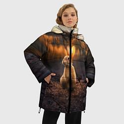 Женская зимняя 3D-куртка с капюшоном с принтом Солнечный зайчик, цвет: 3D-черный, артикул: 10164198706071 — фото 2