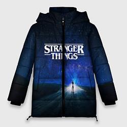 Женская зимняя 3D-куртка с капюшоном с принтом Stranger Things: Road Light, цвет: 3D-черный, артикул: 10167402106071 — фото 1