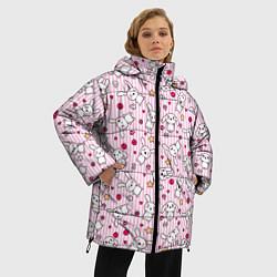Женская зимняя 3D-куртка с капюшоном с принтом Зайчики, цвет: 3D-черный, артикул: 10213994306071 — фото 2