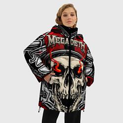 Женская зимняя 3D-куртка с капюшоном с принтом Megadeth, цвет: 3D-черный, артикул: 10218172506071 — фото 2