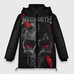 Женская зимняя 3D-куртка с капюшоном с принтом Megadeth, цвет: 3D-черный, артикул: 10218178706071 — фото 1