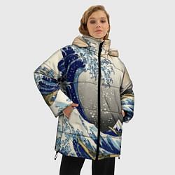 Женская зимняя 3D-куртка с капюшоном с принтом ЯПОНСКАЯ КАРТИНА, цвет: 3D-черный, артикул: 10246798706071 — фото 2