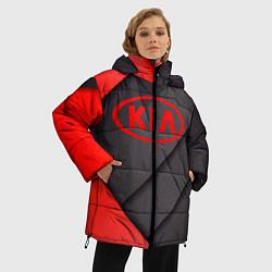 Женская зимняя 3D-куртка с капюшоном с принтом KIA, цвет: 3D-черный, артикул: 10249654306071 — фото 2