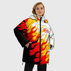 Женская зимняя 3D-куртка с капюшоном с принтом KIA, цвет: 3D-черный, артикул: 10253982106071 — фото 2