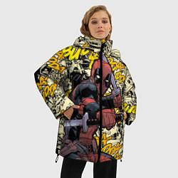 Женская зимняя 3D-куртка с капюшоном с принтом Deadpool, цвет: 3D-черный, артикул: 10275016706071 — фото 2