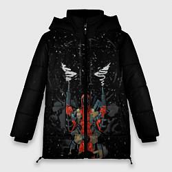 Женская зимняя 3D-куртка с капюшоном с принтом Deadpool, цвет: 3D-черный, артикул: 10275027306071 — фото 1
