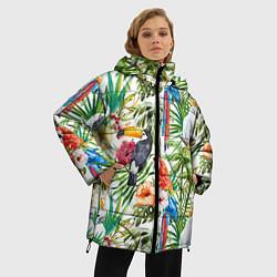 Женская зимняя 3D-куртка с капюшоном с принтом Попугаи в тропиках, цвет: 3D-черный, артикул: 10065274406071 — фото 2