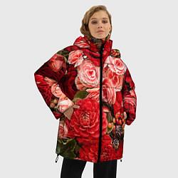 Женская зимняя 3D-куртка с капюшоном с принтом Ассорти из цветов, цвет: 3D-черный, артикул: 10067033606071 — фото 2