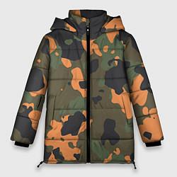 Куртка зимняя женская Камуфляж: хаки/оранжевый цвета 3D-черный — фото 1