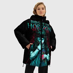 Женская зимняя 3D-куртка с капюшоном с принтом BMTH: Zombie Girl, цвет: 3D-черный, артикул: 10073644406071 — фото 2