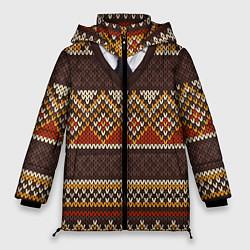 Куртка зимняя женская Зимний узор с галстуком - фото 1