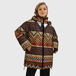 Куртка зимняя женская Зимний узор с галстуком цвета 3D-черный — фото 2