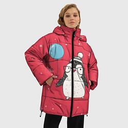 Женская зимняя 3D-куртка с капюшоном с принтом Влюбленная пингвинка, цвет: 3D-черный, артикул: 10079040806071 — фото 2