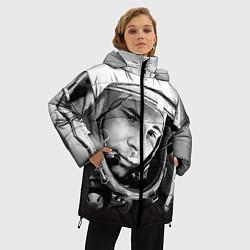 Женская зимняя 3D-куртка с капюшоном с принтом Юрий Гагарин, цвет: 3D-черный, артикул: 10082403206071 — фото 2