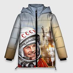 Женская зимняя 3D-куртка с капюшоном с принтом Гагарин взлетает, цвет: 3D-черный, артикул: 10091681006071 — фото 1