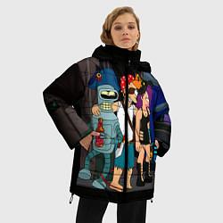 Женская зимняя 3D-куртка с капюшоном с принтом Футурама пати, цвет: 3D-черный, артикул: 10092145706071 — фото 2