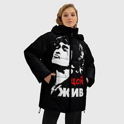 Куртка зимняя женская Цой жив цвета 3D-черный — фото 2