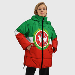 Женская зимняя 3D-куртка с капюшоном с принтом Татарстан: флаг, цвет: 3D-черный, артикул: 10094275106071 — фото 2
