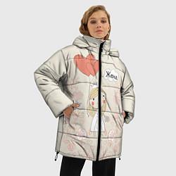 Женская зимняя 3D-куртка с капюшоном с принтом Жена с шариками, цвет: 3D-черный, артикул: 10094831006071 — фото 2