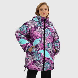 Женская зимняя 3D-куртка с капюшоном с принтом Summer paradise, цвет: 3D-черный, артикул: 10096430306071 — фото 2