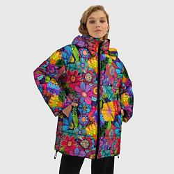 Женская зимняя 3D-куртка с капюшоном с принтом Яркие цветы, цвет: 3D-черный, артикул: 10096493906071 — фото 2