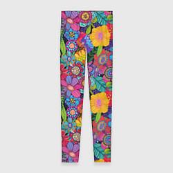 Леггинсы женские Яркие цветы цвета 3D — фото 1