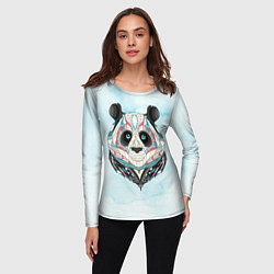 Лонгслив женский Расписная голова панды цвета 3D — фото 2