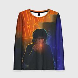 Лонгслив женский Виктор Цой в ночи цвета 3D — фото 1